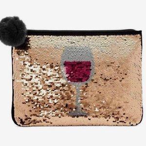 Stella & Dot Sequin Wine Pouch Reversible Clutch